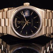 Rolex 19018 YG Day-Date Oysterquartz w/ Black Index Dial