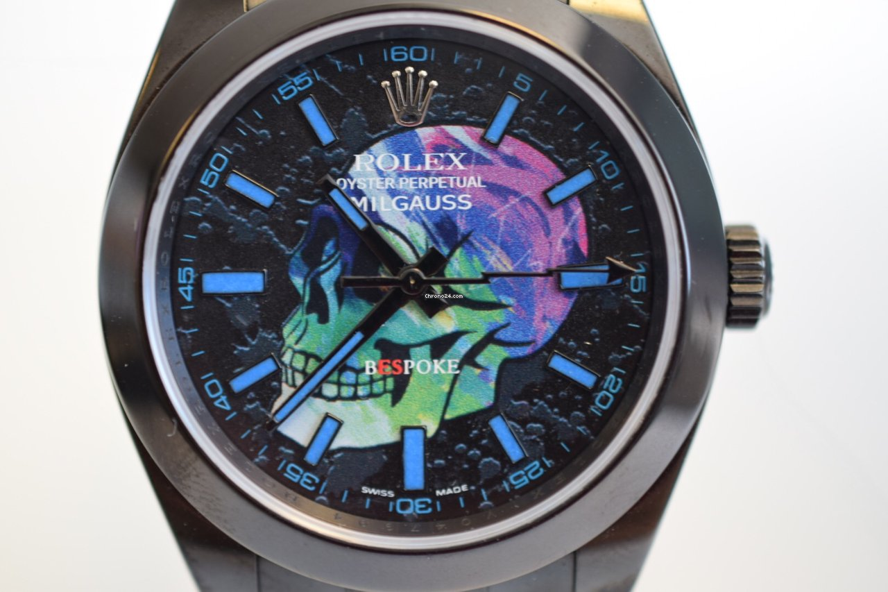 Rolex milgauss skull custom pvd skull dial limited edition for 8 908 for sale from a trusted for Rolex milgauss