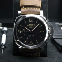 Panerai Luminor 1950 10 Days GMT pre-owned 44mm Black GMT Leather