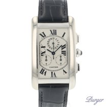 Cartier Tank Américaine pre-owned 26mm White Chronograph Date Crocodile skin