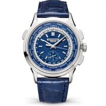 Patek Philippe World Time Chronograph Or blanc 39.5mm Bleu