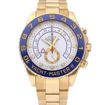 Rolex Yacht-Master II Žluté zlato 44mm Bílá Bez čísel