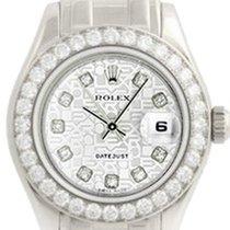 Rolex Ladies Silver Jubilee Diamond Pearlmaster 18k White Gold...