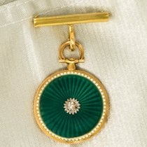 Cartier VINTAGE 1910 Rare Enamel Diamond 18k Pocket Watch