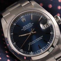 Rolex Datejust 36mm Navy Blue Dial Smooth Bezel Oyster 16200