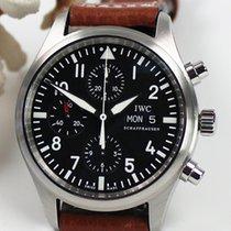IWC Fliegeruhr Chronograph gebraucht 42mm Schwarz Chronograph Datum Leder
