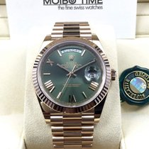 Rolex Day-Date 18ct Everose Gold 40mm Olive Green Roman [NEW]