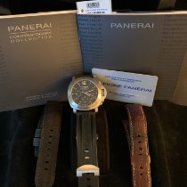 Panerai Luminor Chrono Сталь 44mm Чёрный Aрабские