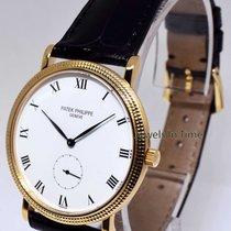 Patek Philippe 3919 Calatrava 18k Yellow Gold Mens Watch & Box...