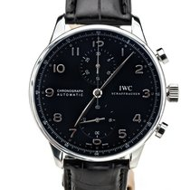 IWC Portuguese Chronograph folosit 40.9mm Negru Cronograf Piele