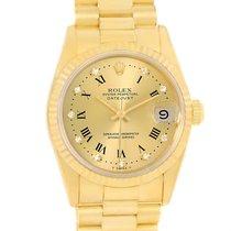 Rolex President Datejust Midsize Yellow Gold Diamond Roman...