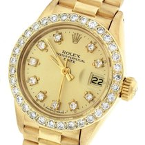 Rolex Ladies Rolex Date President 26mm 6917 18K Gold Diamond...