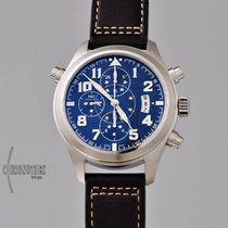 IWC Pilot Double Chronograph Staal 44mm Blauw