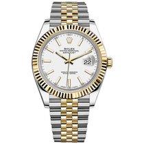 Rolex Datejust Or/Acier 41mm Blanc Sans chiffres