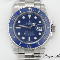 Rolex Weißgold Automatik Blau Keine Ziffern 40mm gebraucht Submariner Date