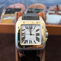 Cartier Santos 100 Or/Acier 38mm Blanc Romain France, Cannes