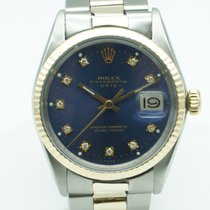 Rolex Oyster Perpetual Date 34 Two Tone Blue Diamond Dial 1972