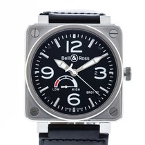 Bell & Ross BR 01-97 Réserve de Marche pre-owned 46mm Black Leather