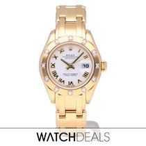 Rolex Lady-Datejust Pearlmaster Yellow gold 29mm White Roman numerals