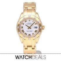 Rolex Lady-Datejust Pearlmaster Ouro amarelo 29mm Branco Romanos
