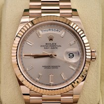 Rolex Rose gold Automatic Pink No numerals 40mm pre-owned Day-Date 40