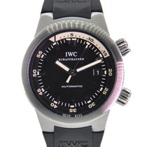 IWC Aquatimer Automatic Stainless Steel Black Dial On Rubber...