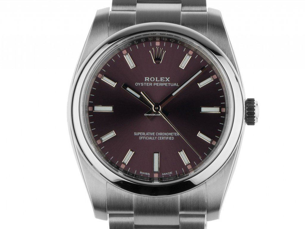 rolex oyster perpetual red grape stahl automatik armband. Black Bedroom Furniture Sets. Home Design Ideas