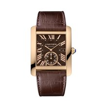 Cartier Men's Tank MC Rose Gold Watch on Leather Strap