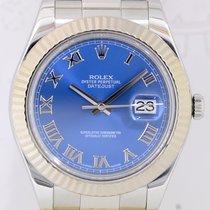 Rolex Datejust II Weißgold Oyster Klassiker blue roman Dial...