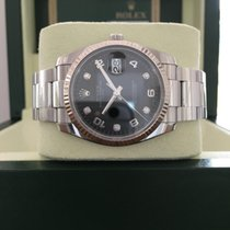 Rolex Date 34 Diamonds black dial White Gold fluted bezel...