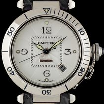 Cartier 18k White Gold Silver Guilloche Dial Pasha Gents Watch...
