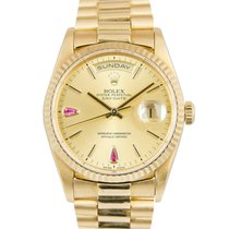 Rolex 18k Day-Date Champagne Ruby Dial Ref: 18238