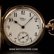 Waltham 9k Y/G White Arabic Dial Half Hunter Vintage Pocket Watch