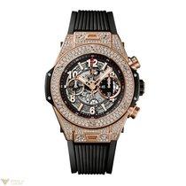 Hublot Big Bang Unico 18K Rose Gold Diamonds Rubber Titanium...