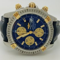 Breitling Chronomat Evolution B13356 18k & Steel Blue Leather...