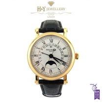 Patek Philippe Perpetual Calendar occasion 36mm Blanc Phase lunaire Date Calendrier perpétuel Cuir de crocodile