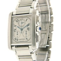 Cartier Tank Française pre-owned 32mm White Chronograph Steel