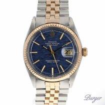 Rolex Datejust Rose Gold/Steel Blue Textured Pie Pan Dial