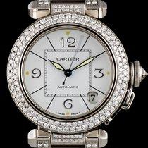 Cartier 18k White Gold White Dial Fully Loaded Diamond Set Pasha