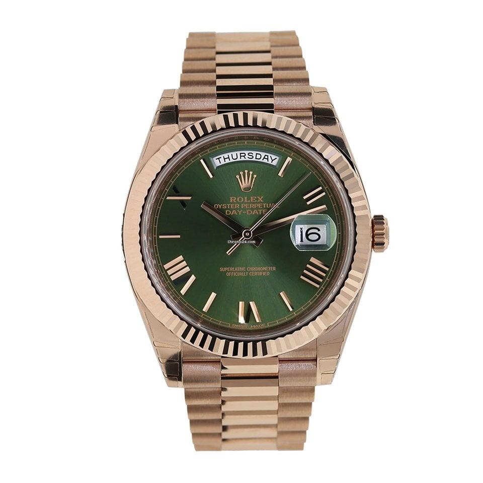 Rolex Day,Date 40mm Rose Gold President Green Roman Watch 228235