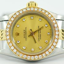 Rolex Ladies Datejust Two Tone With Factory Diamond Dial &...