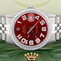 Rolex Datejust Stahl 36mm Rot Arabisch