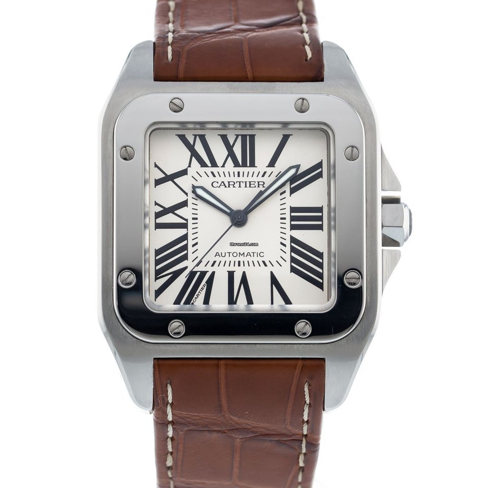99b156f572aeb Cartier Santos 100 W20073X8 Watch with Leather Bracelet and Stainless Steel  Bezel