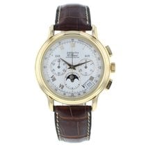 Zenith El Primero pre-owned 40mm White Moon phase Chronograph Date Month Crocodile skin