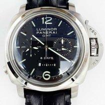 Panerai Luminor 1950 8 Days Chrono Monopulsante GMT Сталь 44mm Чёрный Aрабские
