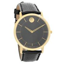 Movado TC Series Mens Black Leather Swiss Quartz Dress Watch...