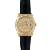 Rolex Yellow gold Automatic Champagne No numerals 36mm new Datejust
