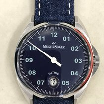 Meistersinger Metris Steel 38mm Blue Arabic numerals