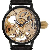 Krieger Gigantium Black PVD Stainless Steel Skeleton Leather...