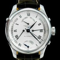 Longines Master Collection pre-owned 41mm White Date Weekday Crocodile skin